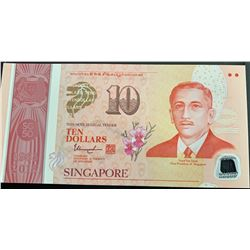 Singapore, 10 Dollars, 2015, UNC, p60abr/Caring & Active, serial number: 5AH 143099, polymer, commem