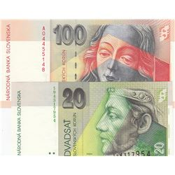 Slovakia, 20 Korun and 100 Korun, 2004/2006, UNC, p20, p44, (Total 2 banknotes)br/serial numbers: S