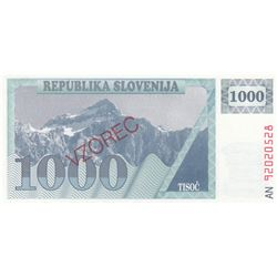 Slovenia, 1.000 Tolarjev, 1992, UNC, p9, SPECIMENbr/serial number: AN 90020528