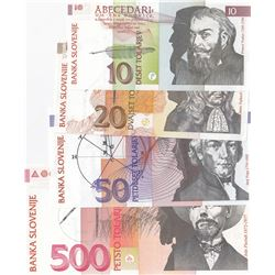 Slovenia, 10 Tolarjev, 20 Tolarjev, 50 Tolarjev and 500 Tolarjev, 1992, UNC, p11, p12, p13, p16, (To