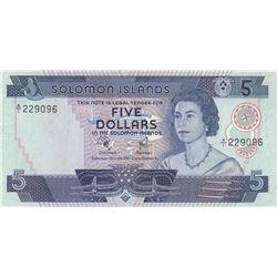 Solomon Islands, 5 Dollars, 1977, XF, p6abr/Queen Elizabeth II portrait, serial number:A/1 229026