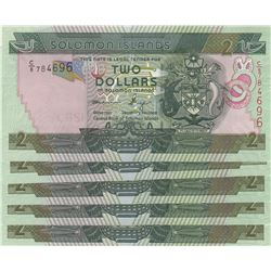 Solomon Islands, 2 Dollars, 2014, UNC, p25, (Total 5 consecutive banknotes)br/serial numbers: C/8 78