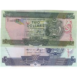 Solomon Islands, 2 Dollars and 5 Dollars, 2004/2006, UNC, p25, p26, (Total 2 banknotes)br/serial num