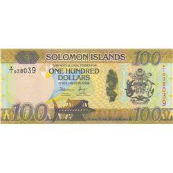 Solomon Islands, 100 Dollars, 2015, UNC, p36r, REPLACEMENTbr/serial number: X/1 038039