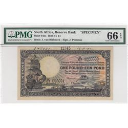 South Africa Republic, 1 Pound, 1938-44, UNC, p84e, SPECIMENbr/PMG 66 EPQ, serial number: A/127 1000