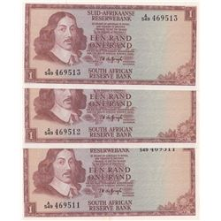 South Africa Republic, 1 Rand, 1973-75, AUNC/UNC, p116, (Total 3 consecutive banknotes)br/serial num