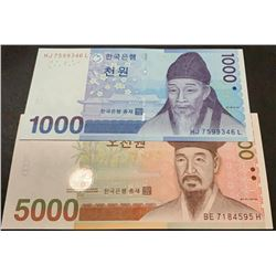 South Korea, 1.000 Won and 5.000 Won, 2006/2007, UNC, p54, p55, (Total 2 banknotes)br/serial number: