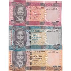 South Sudan, 5 Pounds, 10 Pounds and 20 Pounds, 2011, UNC, p6, p7, p8, (Total 3 banknotes)br/serial