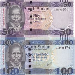 South Sudan, 50 Pounds and 100 Pounds, 2017, UNC, p14c, p15c, (Total 2 banknotes)br/serial numbers: