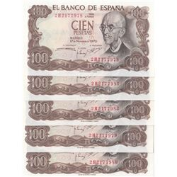 Spain, 100 Pesetas, 1970, UNC, p152, (Total 5 consecutive banknotes)br/serial numbers: 2H 2177978