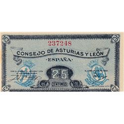 Spain, 25 Centimos, 1937, UNC, pS601 br/serial number: 237248