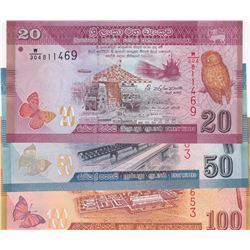 Sri Lanka, 20 Rupees, 50 Rupees ve 100  Rupees, 2010/2015, UNC, p123, p124, p125, (Total 3 banknotes