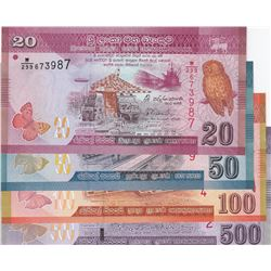 Sri Lanka, 20 Rupees, 50 Rupees, 100 Rupees and 500 Rupees, 2015/2016, UNC, p123, p124, p125, p126,