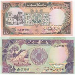 Sudan, 10 Pounds and 20 Pounds, 1991, UNC, p46, p47, (Total 2 banknotes)br/serial numbers: E/376 131