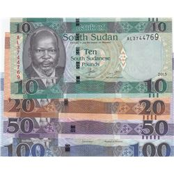 Sudan, 10 Pounds, 20 Pounds, 50 Pounds and 100 Pounds, UNC, (Total 4 banknotes)br/South Sudan Bankno