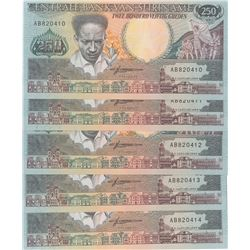 Suriname, 250 Gulden, 1988, UNC, p134, (Total 5 consecutive banknotes)br/serial numbers: AB 820410