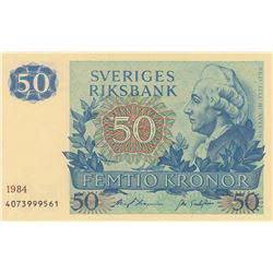 Sweden, 50 Kronor, 1984, UNC, p53br/Replacement note, serial number: 4073999561