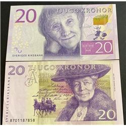 Sweden, 20 Kronor (2), 1997/2015, XF/AUNC, p63, p69, (Total 2 banknotes)br/serial numbers: 870118785