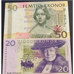 Sweden, 20 Kronor and 50 Kronor, 1998/2011, XF/AUNC, p63, p64, (Total 2 banknotes)br/serial numbers: