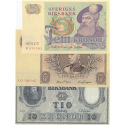 Sweden, 5 Kronor (2) and 10 Kronor, 1955/1963/1974, XF/ AUNC / UNC, p43b, p50b, p31r3, (Total 3 bank