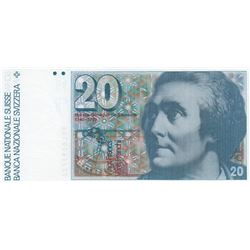 Switzerland, 20 Francs, 1990, AUNC, p55ibr/serial number: 90L 0292722