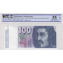 Switzerland, 100 Franken, 1988, AUNC, p57ibr/PCGS 55 OPQ serial number: 88E2536807
