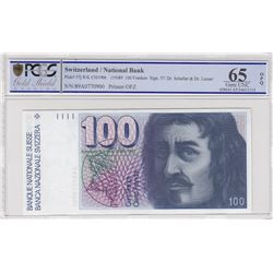 Switzerland, 100 Franken, 1989, UNC, p57jbr/PCGS 65 OPQ serial number: 89A0770900