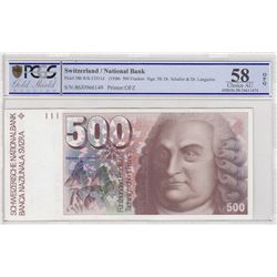 Switzerland, 500 Franken, 1986, AUNC, p58bbr/PCGS 58 OPQ serial number: 86J0966149