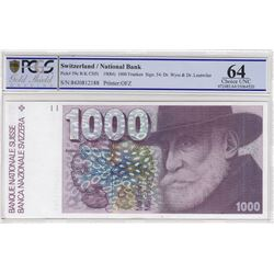 Switzerland, 1.000 Franken, 1984, UNC, p59cbr/PCGS 64, serial number: 84J0812188