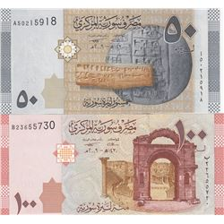 Syria, 50 Pounds and 100 Pounds, 2009, UNC, p112, p113, (Total 2 banknotes)br/serial numbers: A5 021