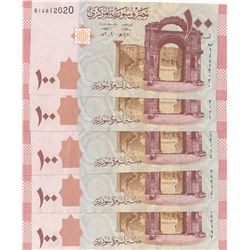Syria, 100 Pounds, 2009, UNC, p113, (Total 5 banknotes)br/