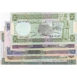 Syria, 5 Pounds, 10 Pounds, 25 Pounds, 50 Pounds and 100 Pounds, 1990/1991, UNC, (Total 5 banknotes)