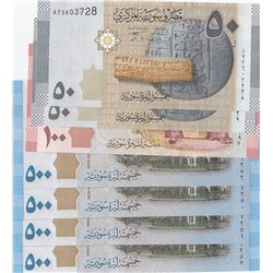 Syria, 50 Pounds (2), 100 Pounds and 500 Pounds (4), 2009/2013, UNC, (Total 7 banknotes)br/
