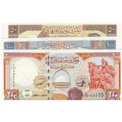 Syria, 50 Pounds, 100 Pounds and 200 Pounds, 1998, UNC, (Total 3 banknotes)br/