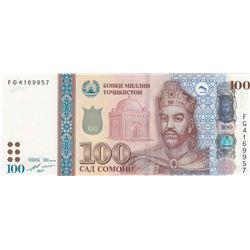Tajikistan, 100 Somoni, 2017, UNC, p27bbr/serial number: FG 4169957