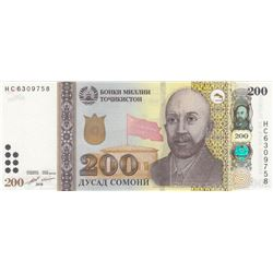 Tajikistan, 200 Somoni, 2018, UNC, p28cbr/serial number: HC 6309758