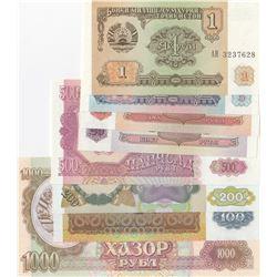 Tajikistan, 1 Ruble, 5 Rubles, 10 Rubles, 20 Rubles, 100 Rubles, 200 Rubles, 500 Rubles and 1000 Rub