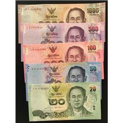 Thailand, 20 Baht, 50 Baht, 100 Baht, 500 Baht and 1.000 Baht, 2017, UNC, p130 …p 134, (Total 5 bank