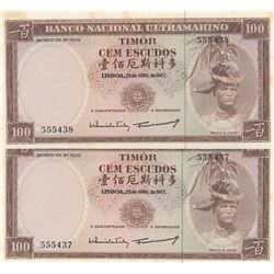 Timor, 100 Escudos, 1963, UNC, p28, (Total 2 consecutive banknotes)br/serial numbers: 555437-8