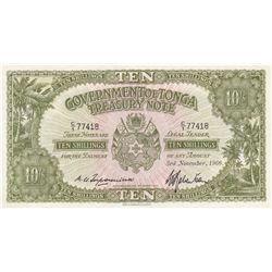 Tonga, 10 Shillings, 1966, UNC, p10ebr/serial number: C/1 77418