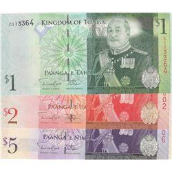 Tonga ,1 Paanga, 2 Paanga and 5 Paanga, 2008, UNC, p37, p38, p39, (Total 3 banknotes)br/