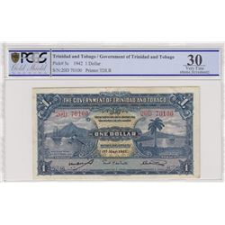 Trinidad and Tobago, 1 Dollar, 1942, VF, p5cbr/PCGS 30, serial number: 20D 70100