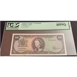 Trinidad and Tobago, 10 Dollars, XF, p28cbr/PCGS 40 PPQ, Queen Elizabeth II portrait, serial number: