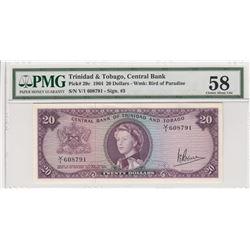 Trinidad and Tobago, 20 Dollars, 1964, AUNC, p29cbr/Queen Elizabeth II portrait, PMG 58, serial numb