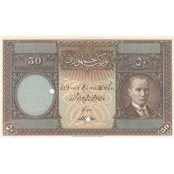 Turkey, 50 Livre, 1927, UNC, 1/1. Emission, p122, SPECIMENbr/no serial number. It is a rare example