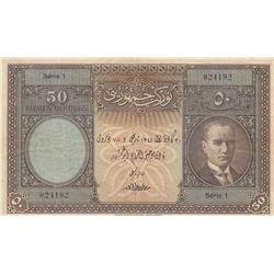 Turkey, 50 Lira, 1927, XF (-), 1/1. Tertip, p122br/Atatürk portrait, serial number: 1 024182, natura