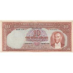 Turkey, 10 Lira, 1938, XF, 2/1. Emission, p128br/Atatürk portrait, serial number: C11 13107