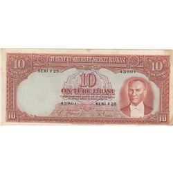 Turkey, 10 Lira, 1938, XF, 2/1. Emission, p128br/Atatürk portrait, serial number: F25 43901, natural