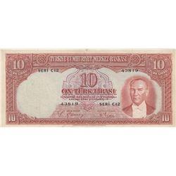 Turkey, 10 Lira, 1938, VF, 2/1. Emission, p128br/Atatürk portrait, serial number: C12 43819