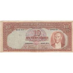 Turkey, 10 Lira, 1938, FINE, 2/1. Emission, p128br/serial number: B3 29259